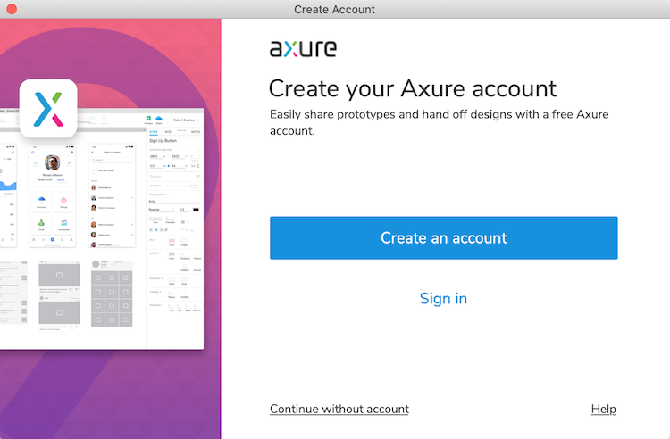 Axure RP Create Account Dialog