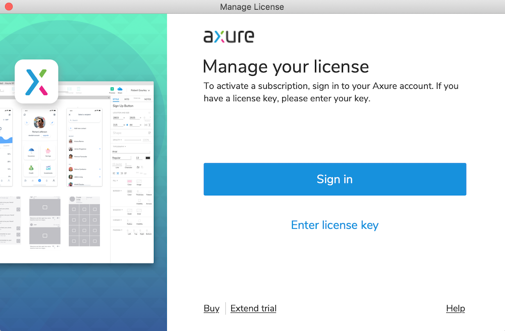 Manage License Dialog