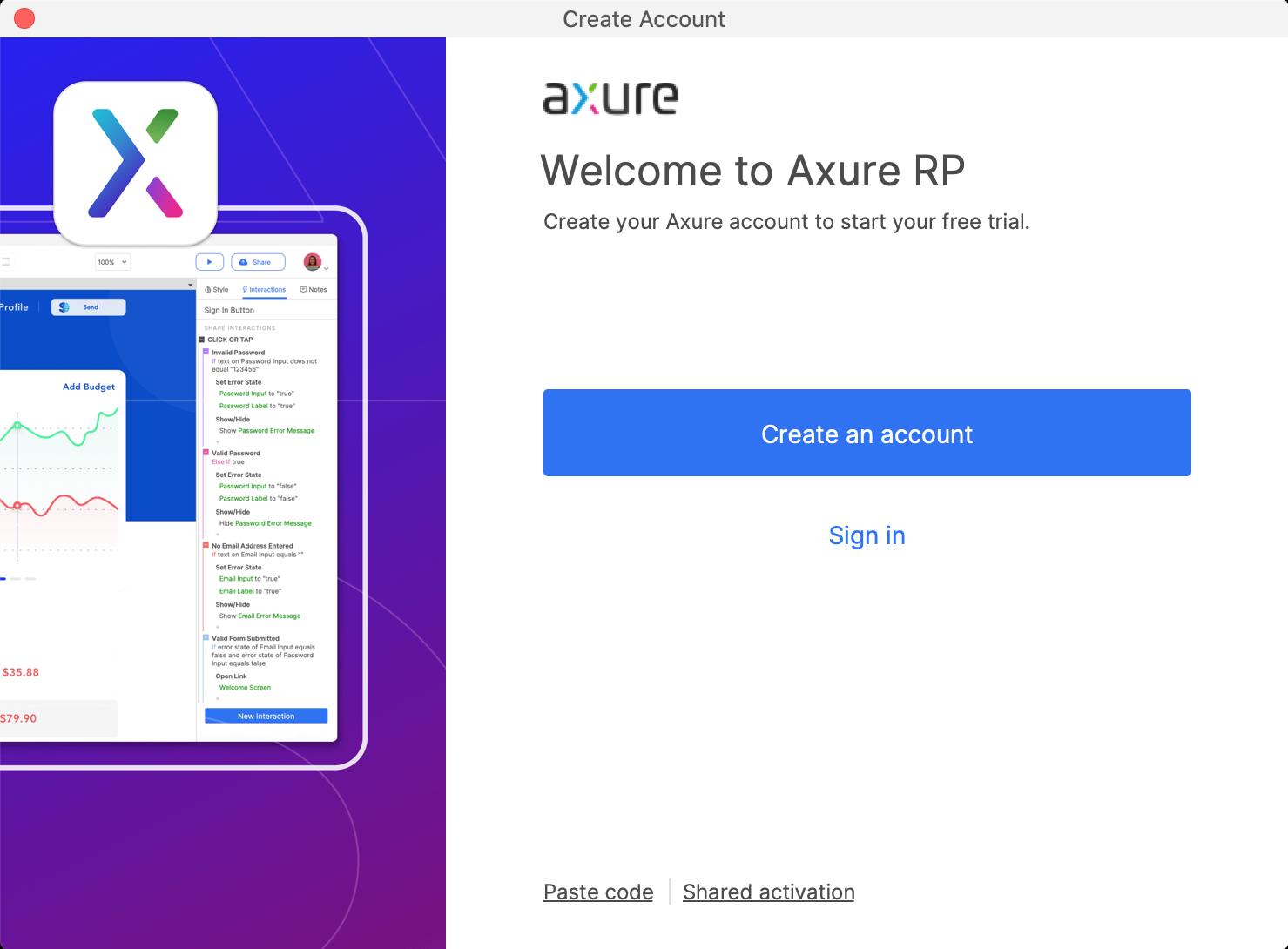 Axure RP创建帐户对话框
