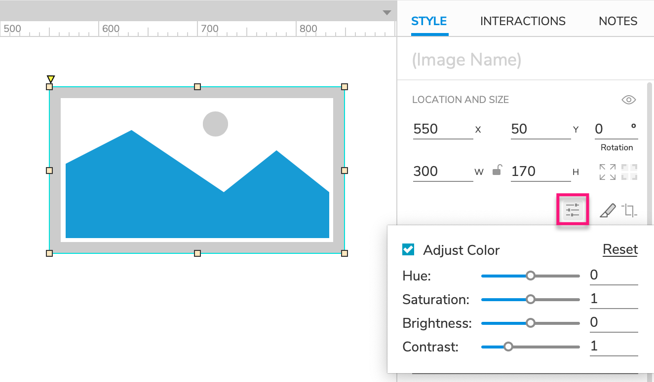 adjusting an image widget's colors