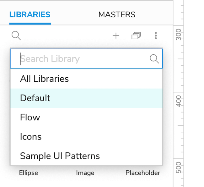 widget library selection dropdown