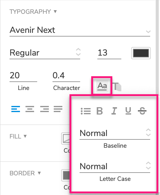 additional text formatting options