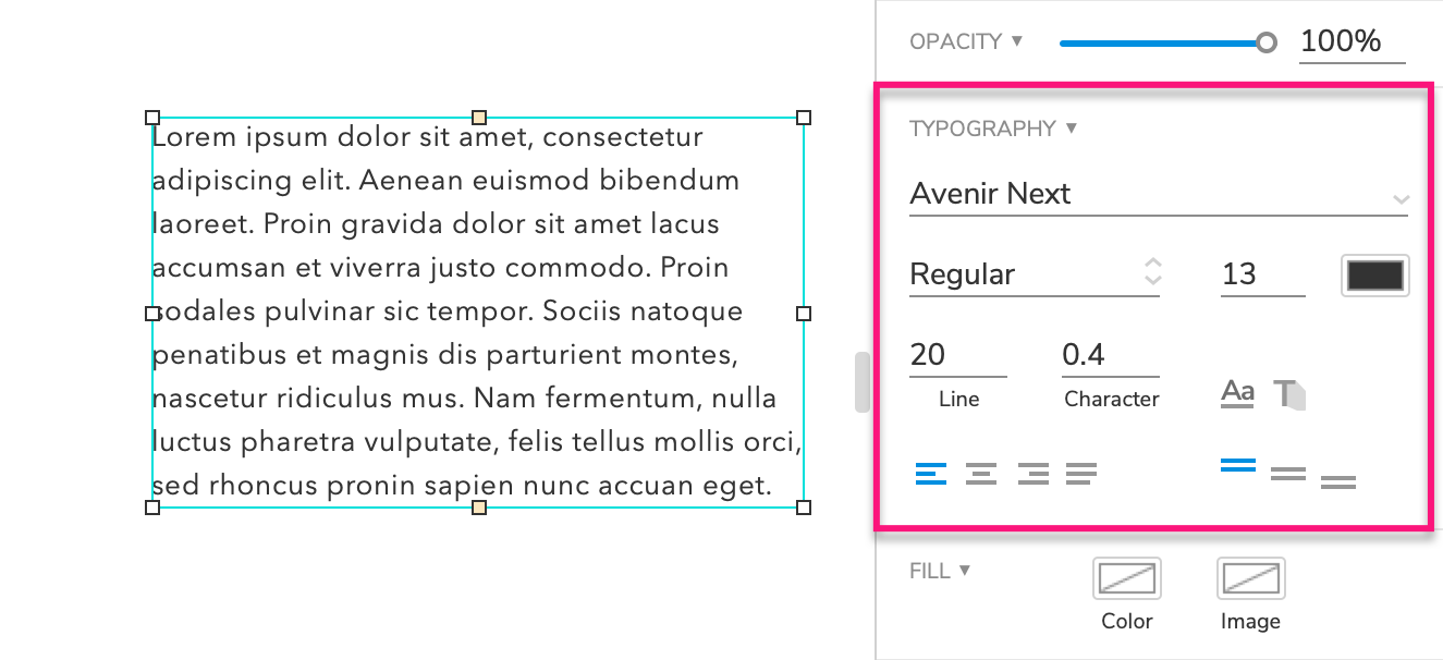 typography options in the Style pane